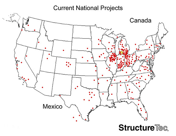 StructureTec serves the US including Chicago, Kalamazoo, Detroit, Cincinnati, Pittsburgh